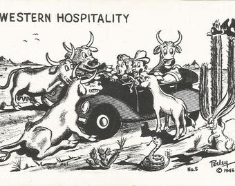 Vintage 1940s Postcard Western Hospitality Bob Petley Funny Cartoon Humourous Comic Card Correspondence Photochrome Era Postally Unused