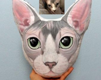 Sphynx Cat  Portrait Plush Pillow, Personalized custom pet pillows, gift for pet lovers, cat portrait,