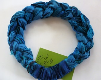 A lovely moody blend of blues in my Sari Silk Braided Headband to chase away the blues! Upcycled sari silk and a comfortable fit!