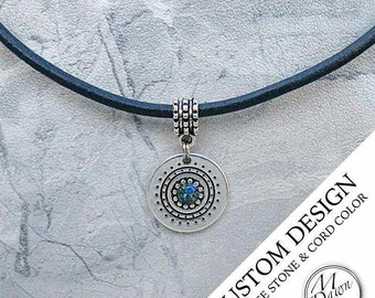 Mens Personalized Handcrafted Crushed Stone Malachite & Lapis Lazuli Circle Medallion Antique Silver Pendant Genuine Leather Cord Necklace