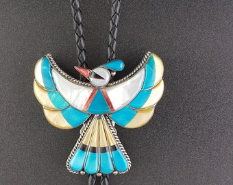 Thunder Bird Bolo Tie Sterling Silver Inlay * NEW