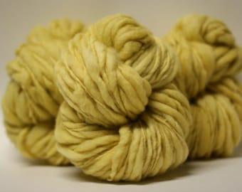 Hand Spun Thick and Thin Yarn Bulky Chunky Wool Slub  Hand Dyed TTS(tm) Egg Nog