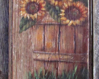 Rustic Basket of Sunflowers Sign