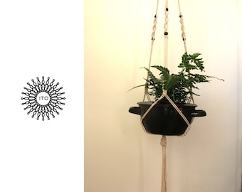 macrame cotton plant hanger with wood beads/long/navy wood2/