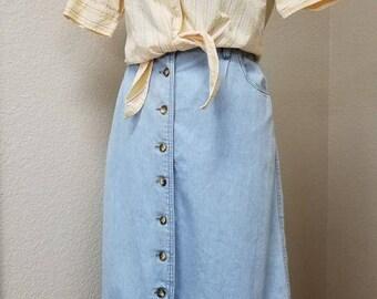 90s Faded Glory soft denim long skirt