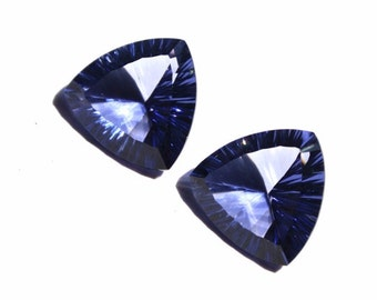1 Pair Iolite Quartz Concave Cut Trillion Briolettes Size 15mm Approx