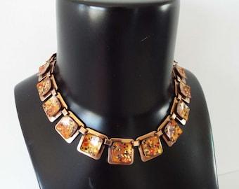 Vintage 1950's Confetti Matisse Necklace & Earrings Demi Parure Set 1950's Copper And Enamel Mid Century Modernist