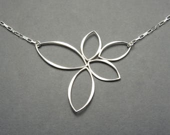 Lotus Necklace - Sterling Silver Statement Necklace, lotus flower, yoga necklace, jewelry