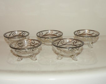 Vintage Glass & Silver Inlay Footed Small Condiment Bowls - 5 pcs