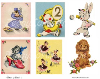 Cuties Mixed 1 Digital Collage from Vintage Greeting Cards - Instant Downloads - Cut Out