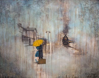 POSTER SIZE PRINT, Couple Rain Art, Couple Wait for Train, titled While We Wait, Limited Edition, Umbrella Art, Mixed Media Art