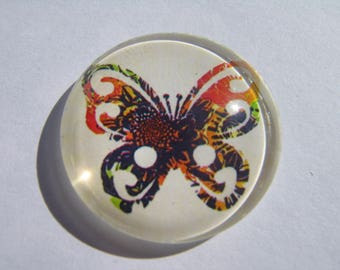 Pretty round glass domed 30 mm with a multicolored butterfly image cabochon