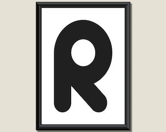 Typography Digital Print Monogram Initial Wall Art Zarista Letter R