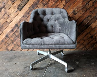 Vintage Tufted Rolling Office Chair