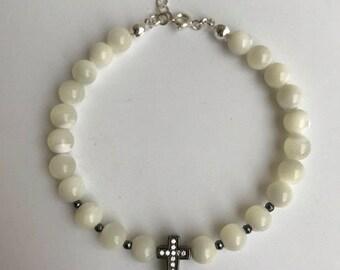 Pearl Bracelet, Mother of Pearl Bracelet,Cross Sterling Silver Bracelet, , Gift For Her,Charm Bracelet , Christmas Gift ,