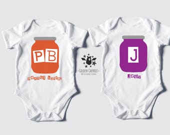 Peanut Butter Jelly Twins One Pieces / Bodysuits / Rompers / Onesies / T-shirts, Twin Tshirts, Twin Onesies, Twin Bodysuits