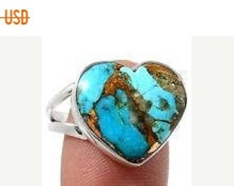 MOTHERS DAY SALE Beautiful Handmade Genuine Ithaca Peak Turquoise/Sterling Silver Heart Ring Size 9