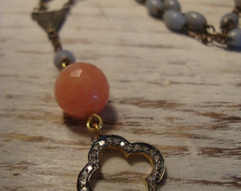 Vintage teal blue rosary with diamond clover charm