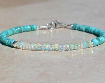 Sleeping Beauty Turquoise Bracelet, Opal Bracelet, Birthstone Bracelets, December October Birthstone, Beaded Gemstone Bracelet, Gift For Mom