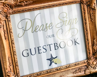 """Navy Blue and Yellow Wedding, Wedding Guestbook, Nautical Wedding Sign, Beach Wedding Sign - """"Starfish and Shell"""" Guestbook Sign"""