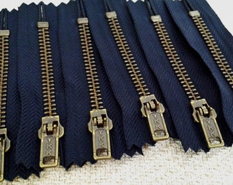 3inch - Navy Blue Metal Zipper - Brass Teeth - 6pcs