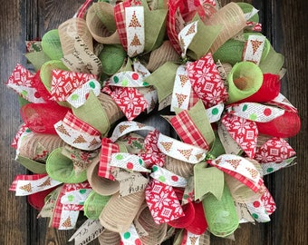 Burlap Christmas - rustic christmas wreath - christmas door decorations - Christmas mantel - holiday wreath - christmas wreath - christmas