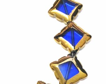 8pc 17mm copper plated  square shape glass beads-9151