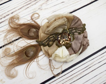 Handcrafted Steampunk Peacock Neutral Feather Accessory - Ivory Taupe Gold - Steampunk Wedding Hair Clip - Wing Hair Clip - Fancy Steampunk