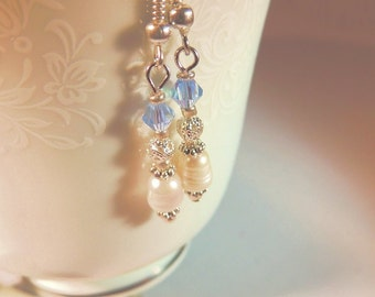 Freshwater Pearl and Crystal Sterling Silver Dangle Earrings, Wedding Jewelry