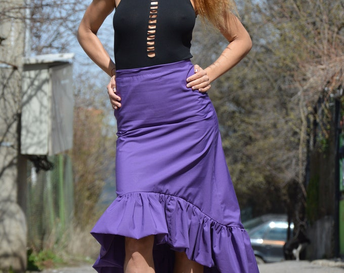 Extravagant High Waisted Skirt, Purple Cotton Skirt, Oversize Long Short Skirt, Plus Size Clothing, Asymmetric Maxi Skirt by SSDfasion