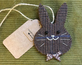 Handmade Easter Bunny Tweed Gift Tag Shabby Chic