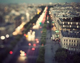 "Paris at Night, Paris Photography, Romantic Cityscape, Travel Photography, Wall Decor, Large Artwork ""Midnight in Paris"""