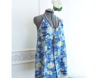 Racerback tank, Upcycled Hawaiian shirt, tunic, blue floral, size small, ooak, Hawaiian print top, summer top. boho, hippie, FREE SHIPPING