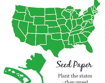 100 Plantable Paper States - Your Choice State - Seed Paper Texas California Florida New York Michigan Montana Oregon Washington - and more