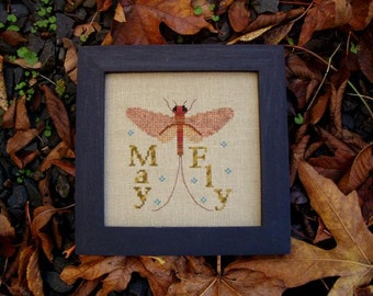 "Cross Stitch Instant Download Pattern ""Mayfly"" Counted Embroidery Chart. Wings Spring Whimsical Design. Turquoise Graphics & Designs."