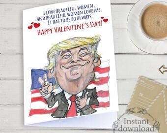 Trump valentine card, Funny Trump valentine card, Printable cards, Valentines cards