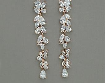 Long Wedding Earrings Long Bridal Earrings Rose Gold Wedding Earrings Statement Earrings Long Crystal Earrings Rose Gold Bridal Jewelry
