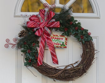 Christmas Holiday Wreath, Christmas Decor, Happy Holidays