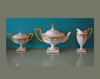 Memorial Day Sale Antique/ Vintage American Lenox Belleek Porcelain Teapot Set w/ Sugar/ Creamer from Art Nouveau/ Art Deco Period