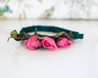 Floral Headband. 1940s 1950s Vintage Pink Roses Hair Accessory. Pretty Head Piece