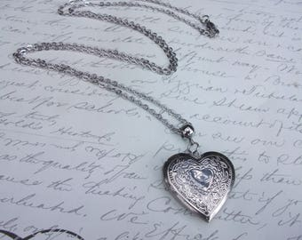 Heart locket stainless steel necklace