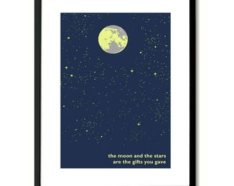 The First Time Ever I Saw Your Face Roberta Flack Ewan Maccoll Moon And The Stars Art Print