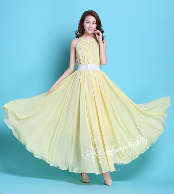 90 Colors Chiffon Light Yellow Long Party Dress Evening