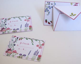 "Set of 10 cards and envelopes ""Invitation"""