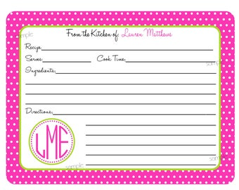 Personalized Recipe Cards, Monogram Recipe cards, Initials, Baking, Cooking, Kitchen, CUSTOM COLORS, Set of 12