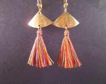 Rainbow Tassel Earrings, Gold Fan Earrings, Long Dangle Earrings, FREE Shipping U.S.