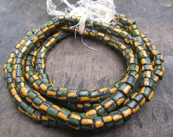 African recycled glass beads,1 strand, 9 mm.diam., 42/44 powdered glass beads