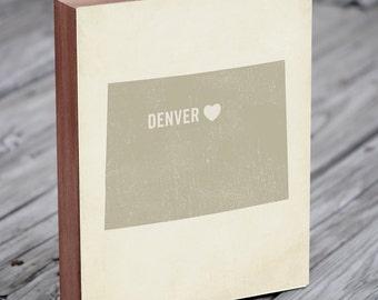 Denver Art - Denver Map - Denver Colorado - I Love Denver - Wood Block Art Print