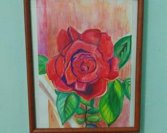 Red Rose: Original Watercolour
