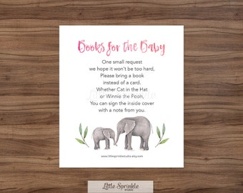 Elephant Bring a Book Instead of a Card, Elephant Baby Girl Shower Game, Bring a Book Card, Printable Digital, EBSS - INSTANT DOWNLOAD